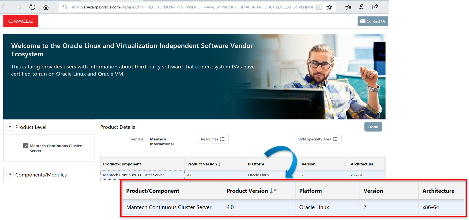 맨텍 MCCS, Oracle Linux 인증 획득